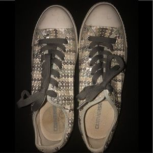 Women's Silver Sequined Converse